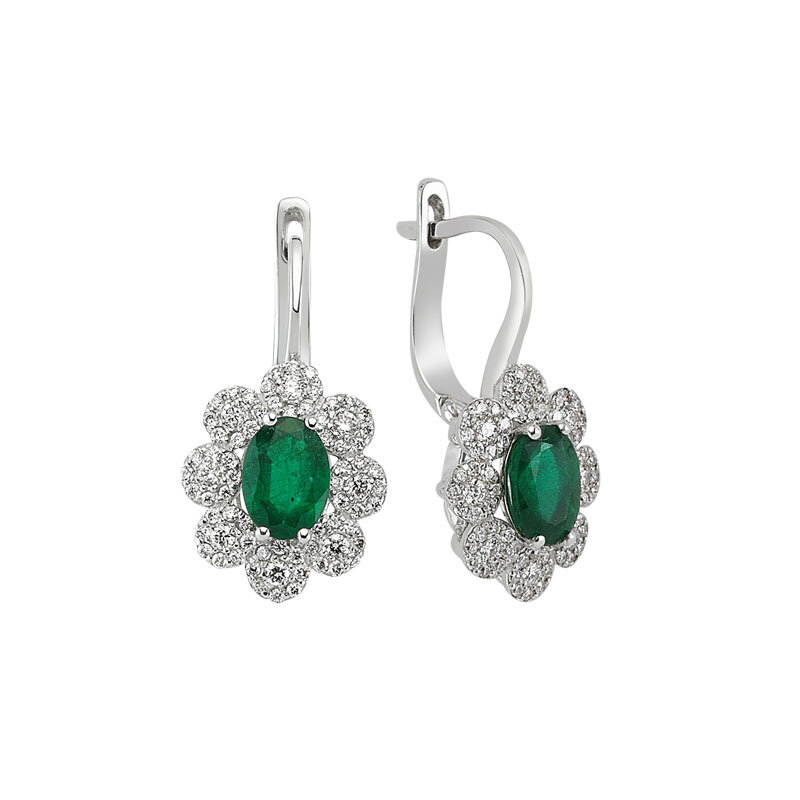 0.62 Carat Emerald Diamond Earrings