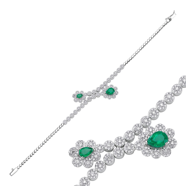1.15 Carat Bracelet Diamant Émeraude
