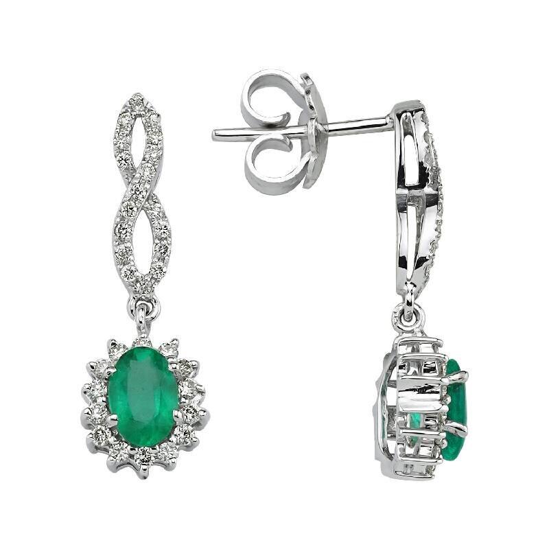 0.38 Carat Emerald Diamond Earrings