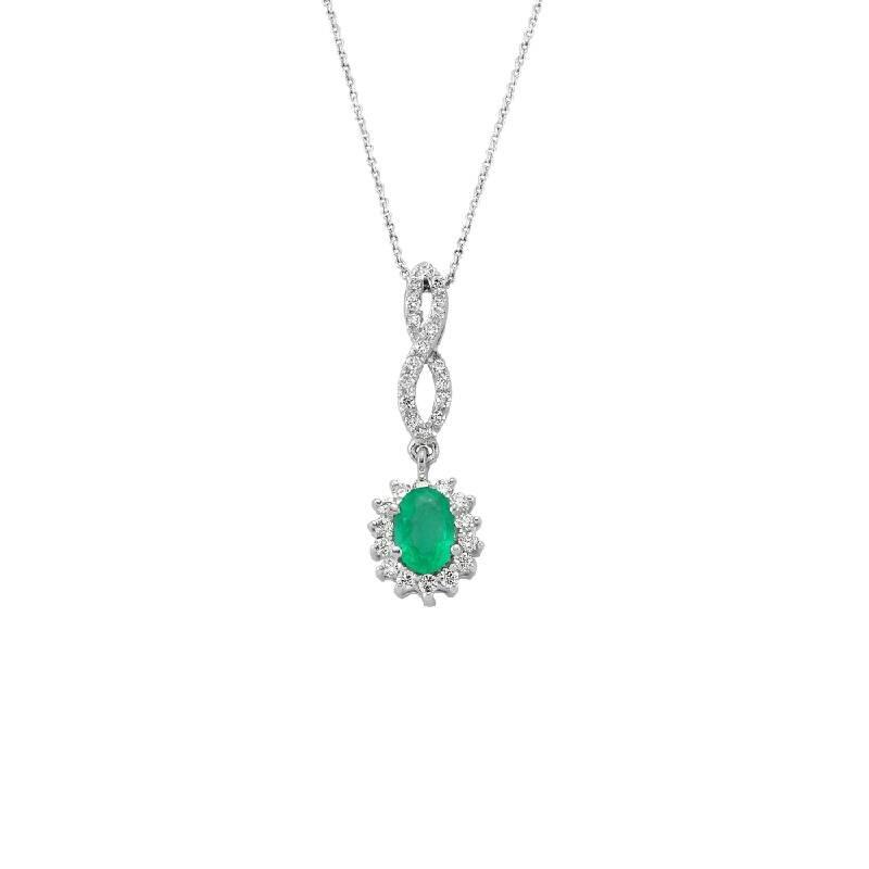 0.18 Carat Emerald Diamond Necklace