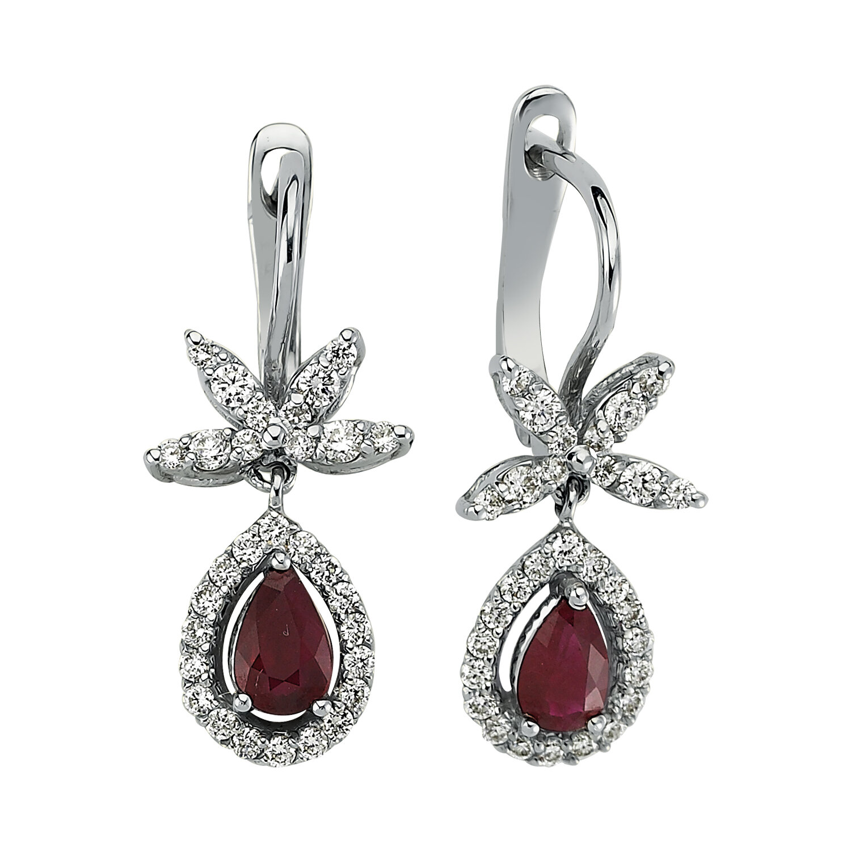 0.55 Carat Ruby Diamond Earrings