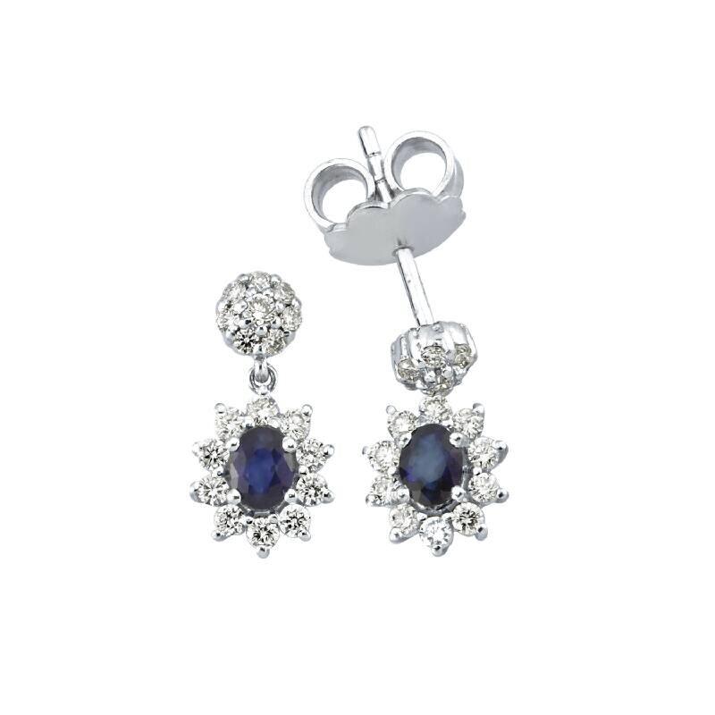 0.39 Carat Boucles d'Oreilles Diamant Saphir