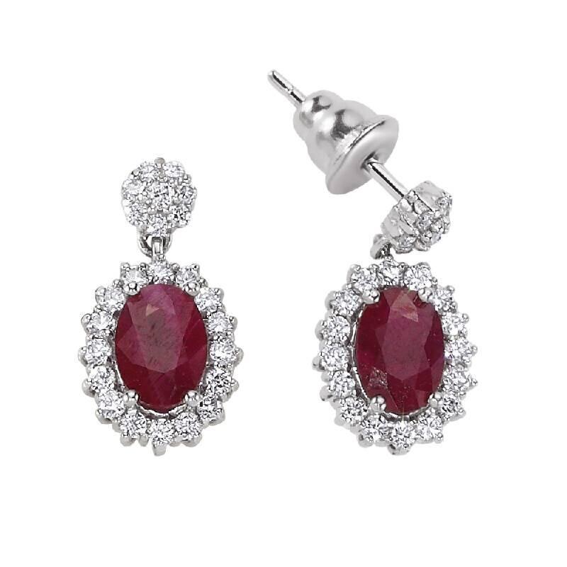 0.56 Carat Ruby Diamond Earrings