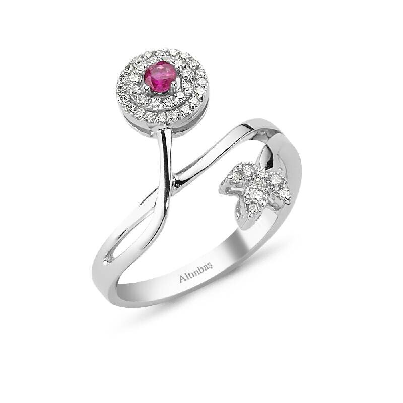 0.21 Carat Ruby Diamond Ring