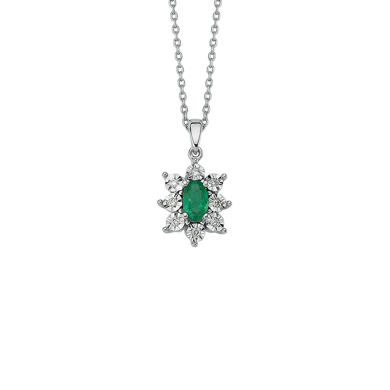 0.04 Carat Emerald Diamond Necklace
