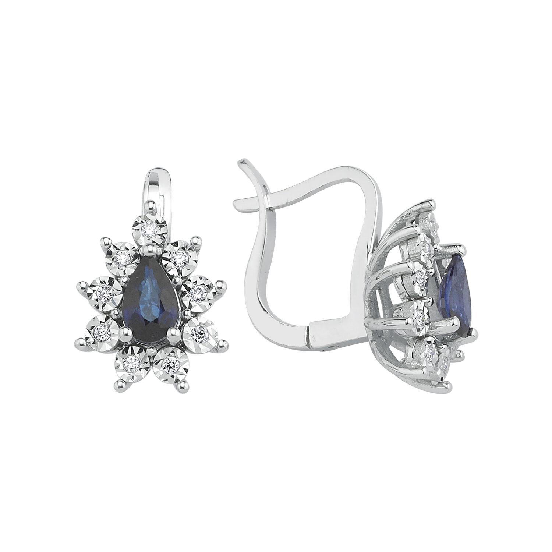 0.11 Carat Sapphire Diamond Earrings