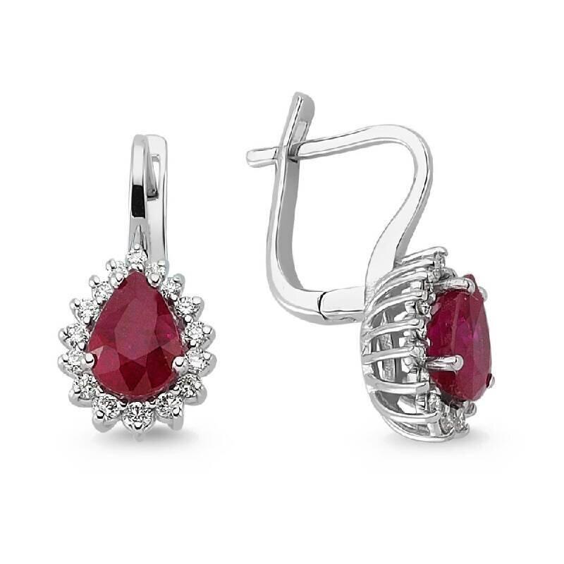 0.31 Carat Ruby Diamond Earrings