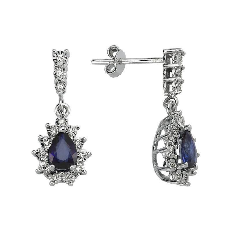 0.13 Carat Sapphire Diamond Earrings