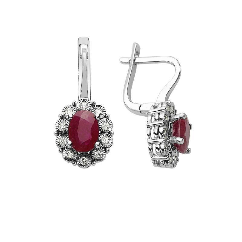 0.18 Carat Ruby Diamond Earrings