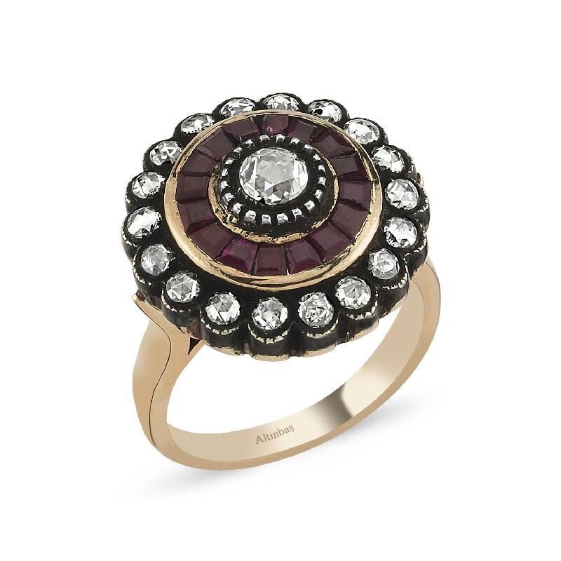 0.82 Carat Ruby Diamond Ring