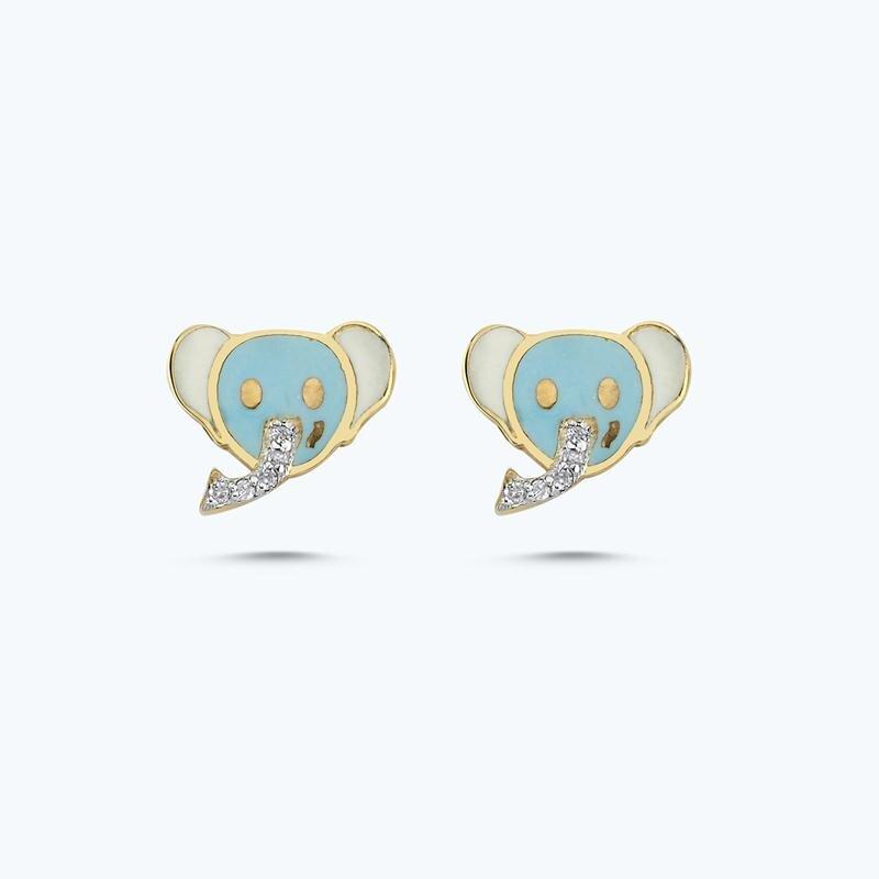 0.05 Carat Kids Elephant Diamond Earrings