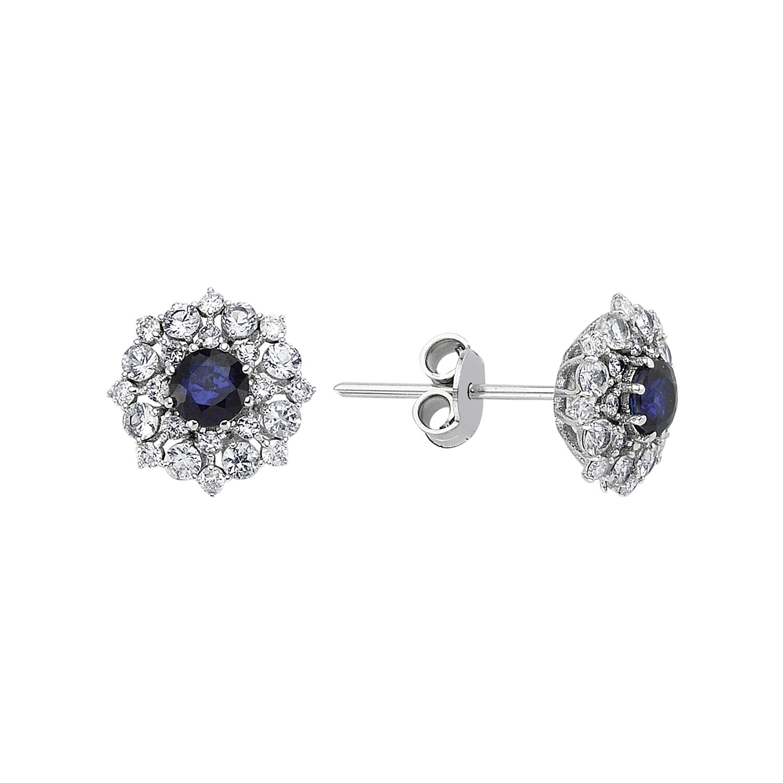 0.16 Carat Sapphire Diamond Earring