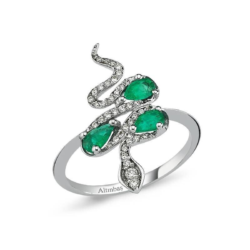 0.16 Carat Emerald Diamond Ring