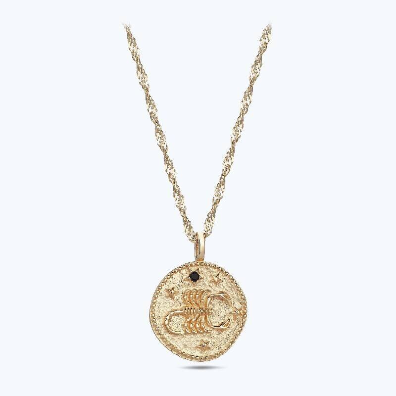 Zodiac Sign Gold Necklace Scorpio