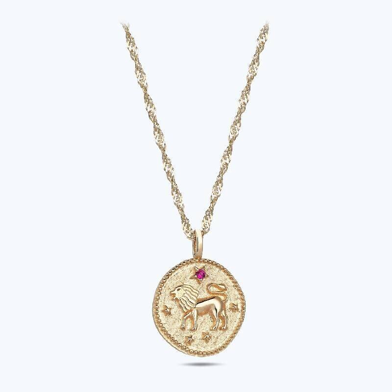 Zodiac Sign Gold Necklace-Leo