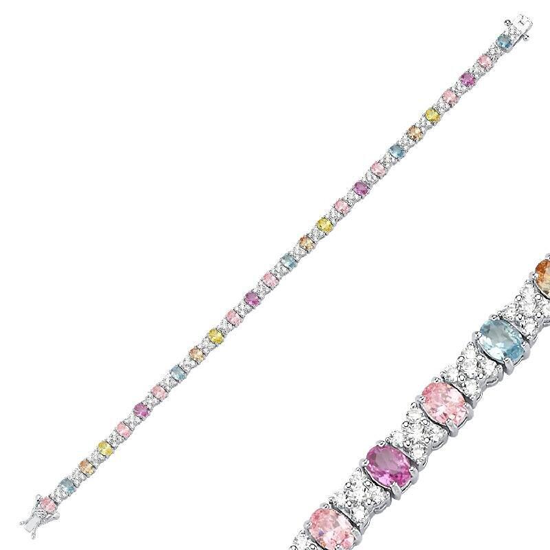 Colored Stone Silver Bracelet