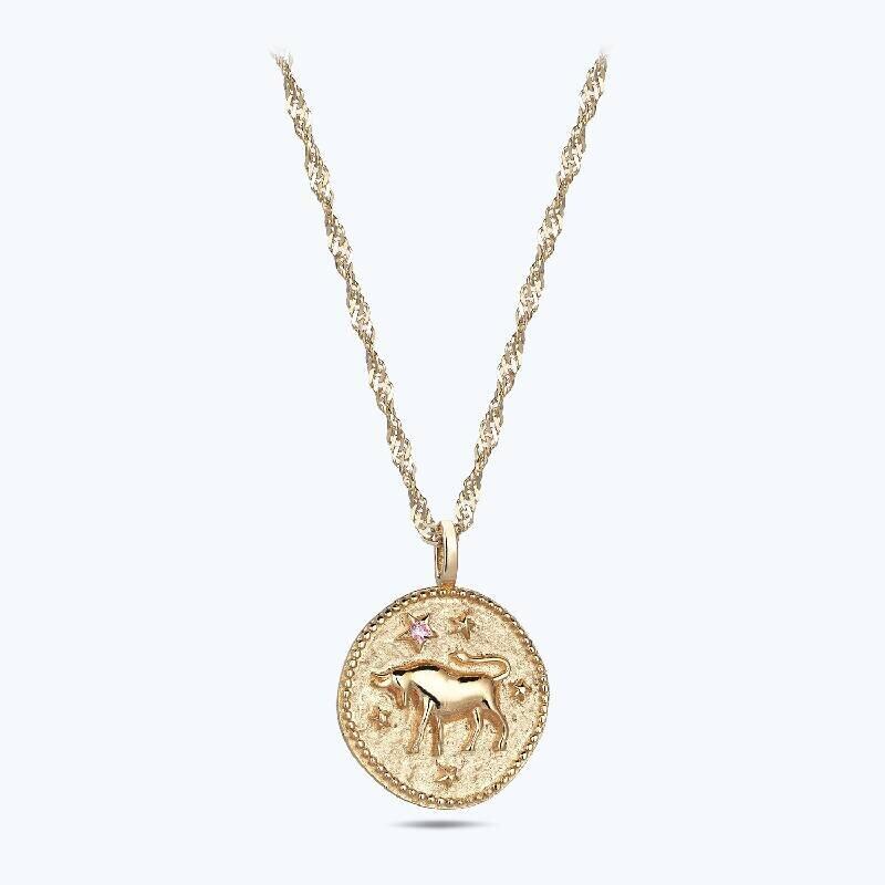 Zodiac Sign Gold Necklace-Taurus