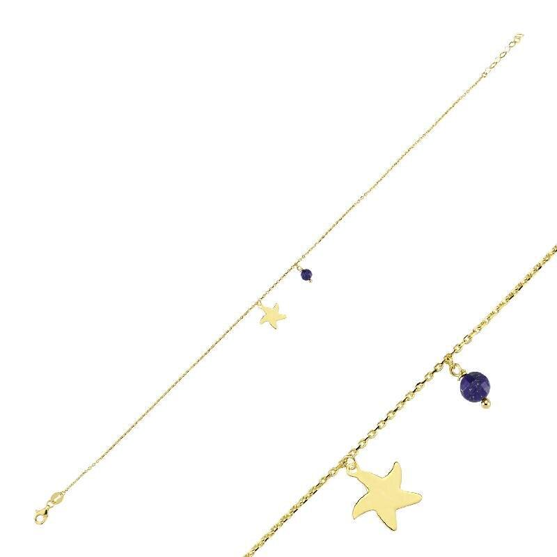 Lapis Taşlı Altın Marin Deniz Yıldızı Halhal