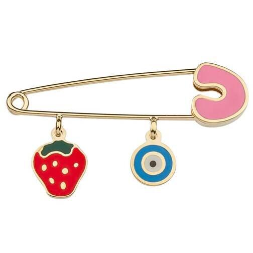 Strawberry & Evil Eye Gold Baby Pin