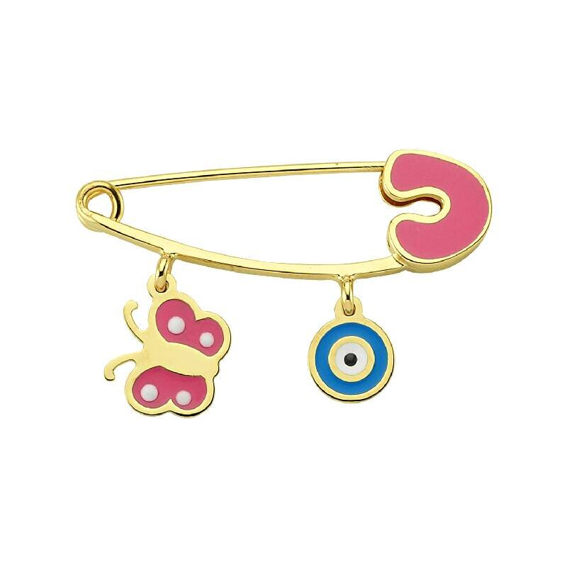 Butterfly & Eveil Eye Gold Baby Pin
