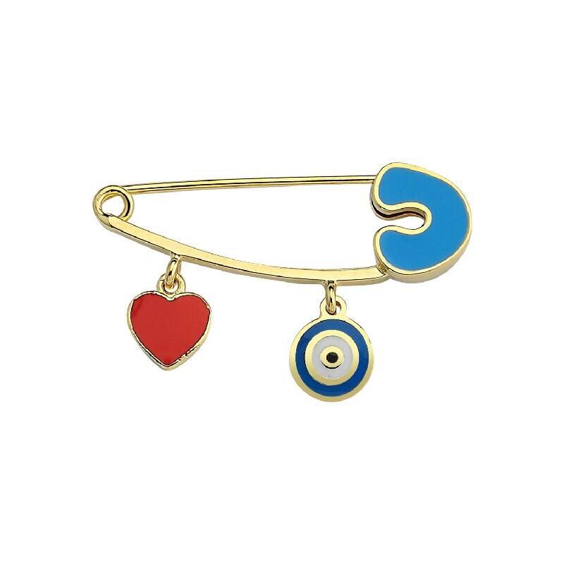 Heart  & Evil Eye Gold Baby Pin