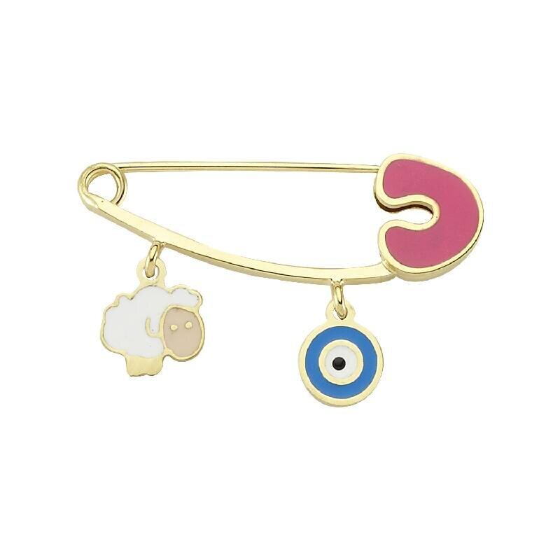 Sheep & Evil Eye Gold Baby Pin