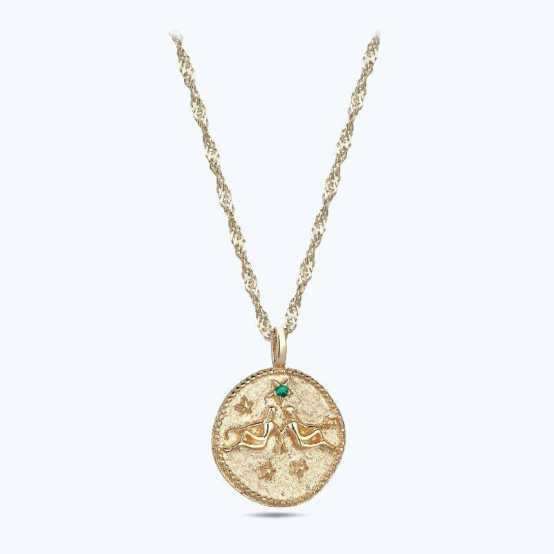 Zodiac Sign Gold Necklace Gemini
