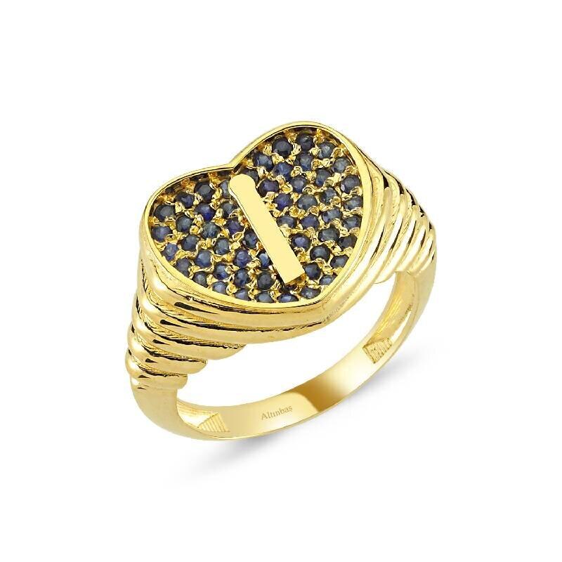 Altın Marin İ Harfi Kalp Yüzük