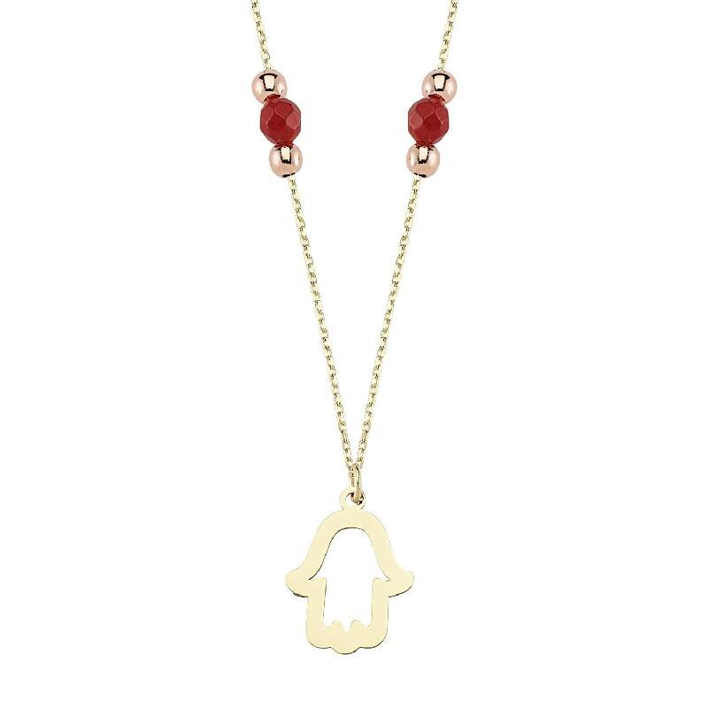 Coral & Fatima's Hand Gold Necklace