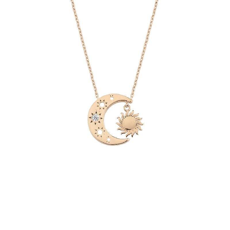 Altın Mihrimah Ay ve Güneş Kolye