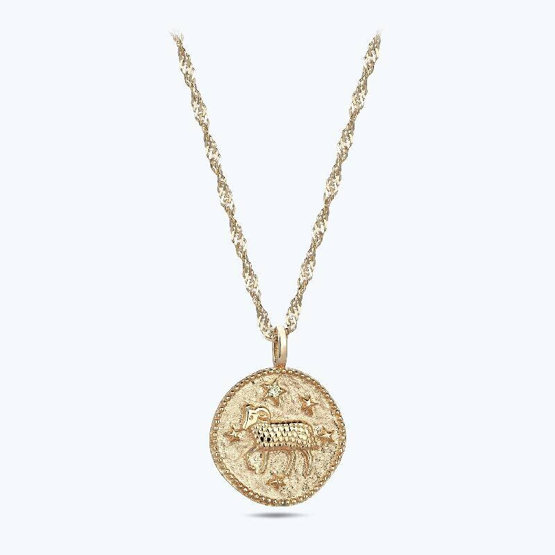 Zodiac Sign Gold Necklace Aries