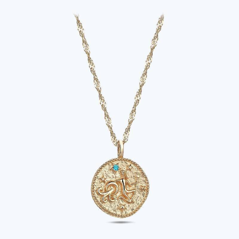 Zodiac Sign Gold Necklace Aquarius