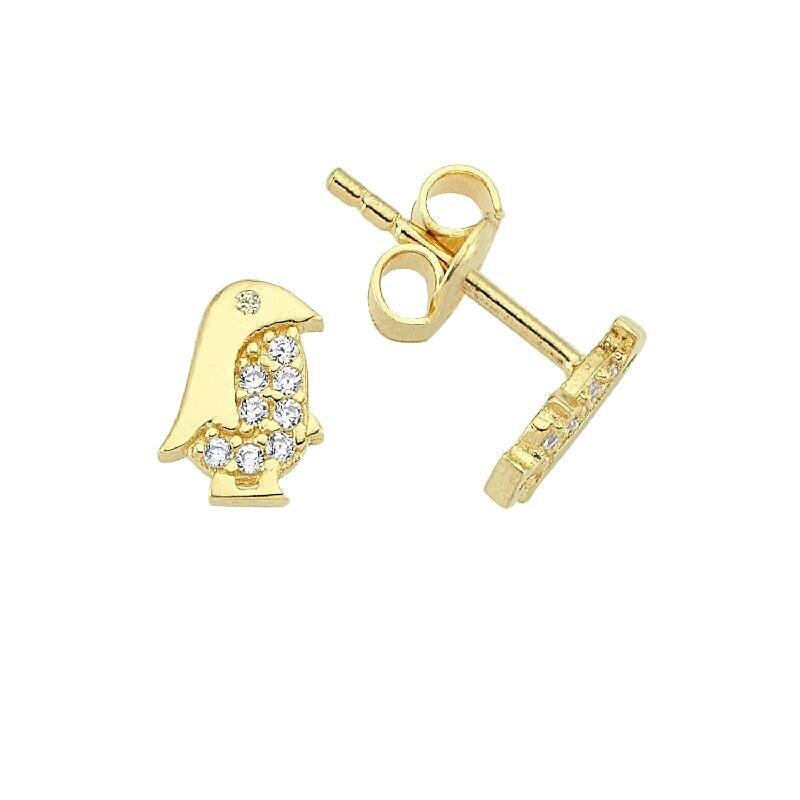 Kids Penguin Gold Earring