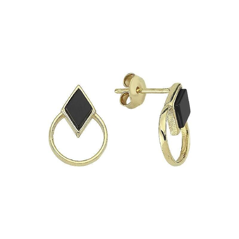 Onyx Stone Gold Earrings