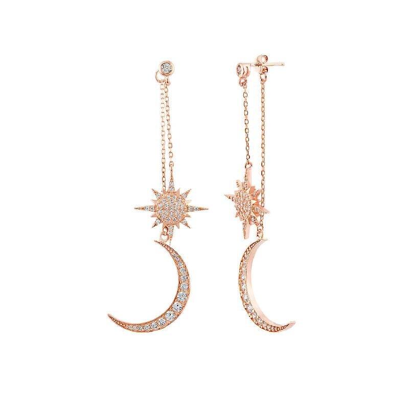 Boucles d'Oreilles Argent Lune & Étoile