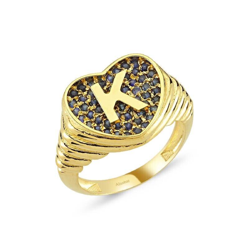 Altın Marin K Harfi Kalp Yüzük