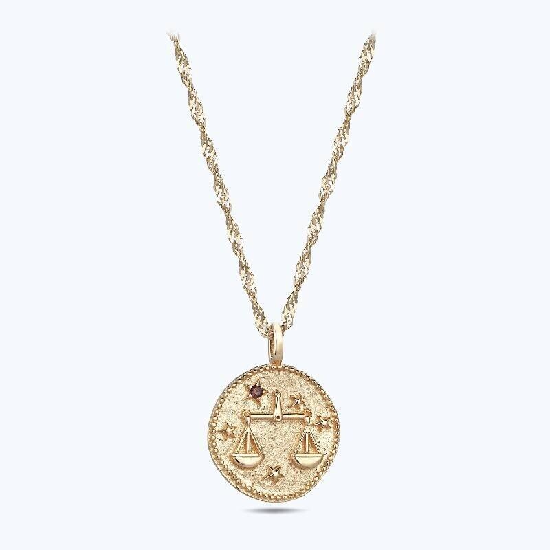 Zodiac Sign Gold Necklace Libra