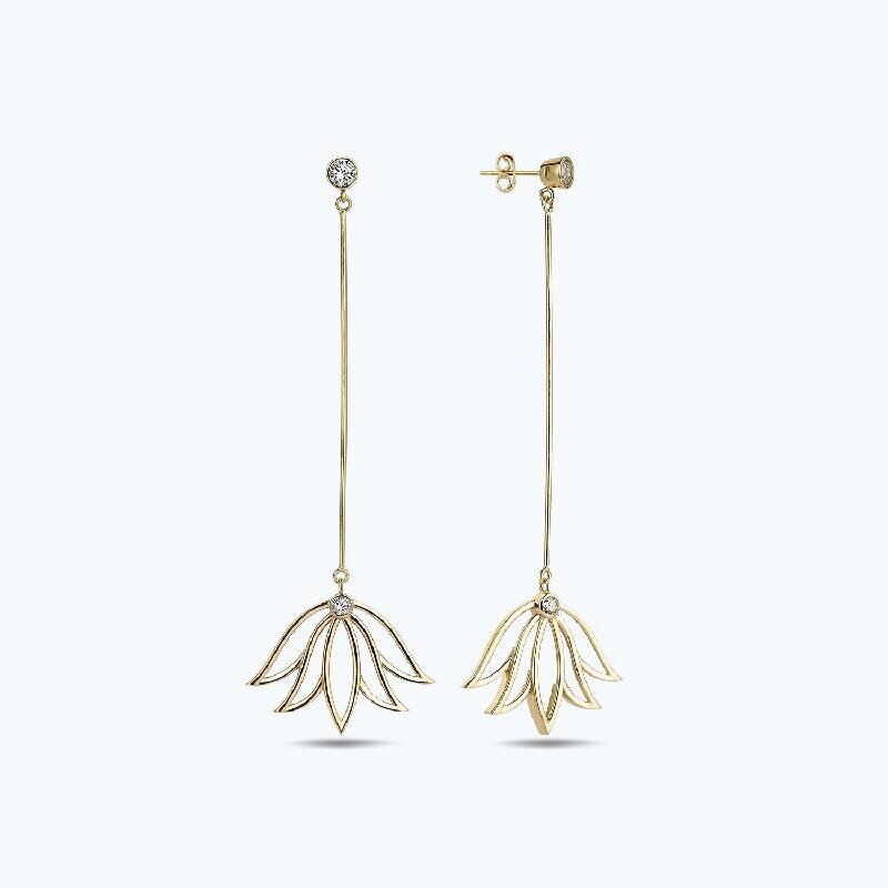Reflection Lotus Gold Earring