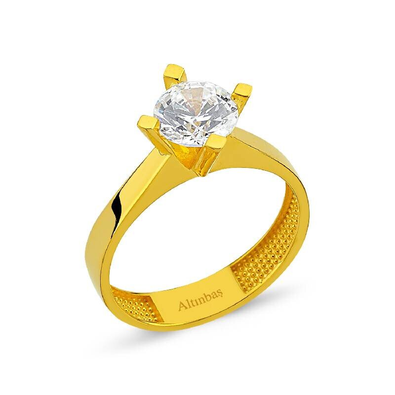 22K Solitaire Gold Ring